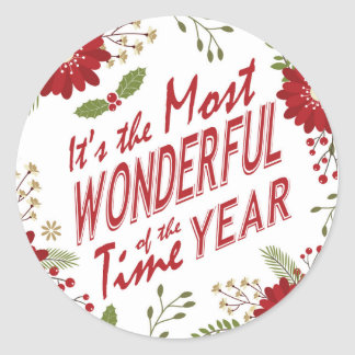 Rustic modern Christmas floral Round Sticker