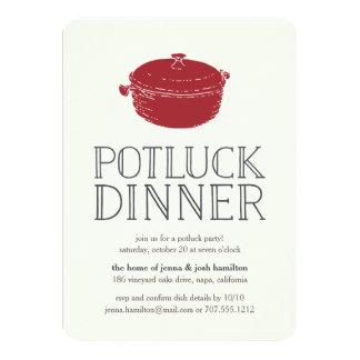 Rustic Modern Potluck Dinner Party Invitation