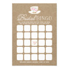 Rustic Modern Tea Party Bingo | Bridal Shower Card