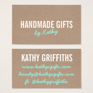 Brown kraft business cards business card printing zazzle ca rustic modern teal brown kraft paper handmade diy business card reheart Image collections