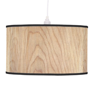 Rustic Modern Unfinished Wood Pattern Printed Pendant Lamp