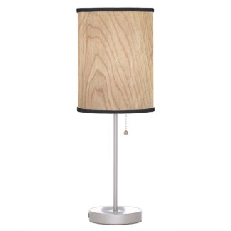 Rustic Modern Unfinished Wood Pattern Printed Table Lamp