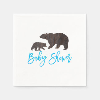 Rustic Mom and Baby Bear Baby Shower Napkin Paper Napkin