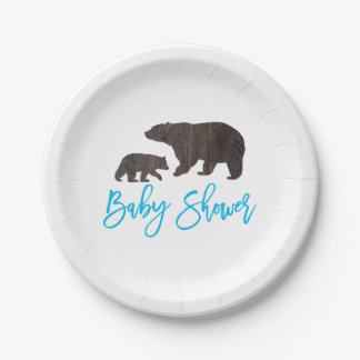 Rustic Mom and Baby Bear Baby Shower Plate 7 Inch Paper Plate