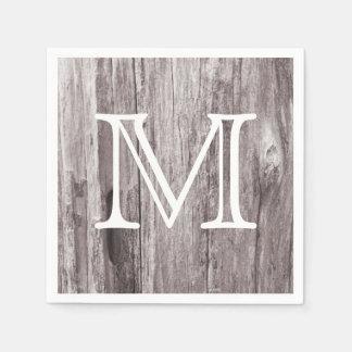 Rustic Monogram Country Weathered Wood Vintage Paper Napkins