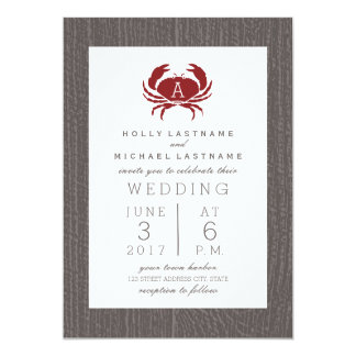 Rustic Monogram Crab Wedding Card