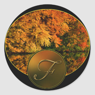 Rustic Monogram Letter F Fall Wedding Envelope Classic Round Sticker