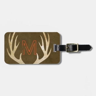 Rustic Monogram Luggage Tag with Antlers