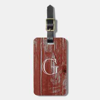 Rustic Monogram | Weathered Faux Barn Wood Luggage Tag