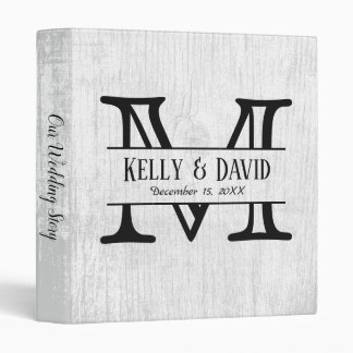 Rustic Monogram White Barn Wood Wedding Album Vinyl Binder
