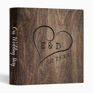 Rustic Monogram Wood Heart Wedding Album Binder