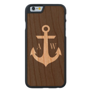 Rustic Monogrammed Anchor Woodback Carved® Cherry iPhone 6 Slim Case