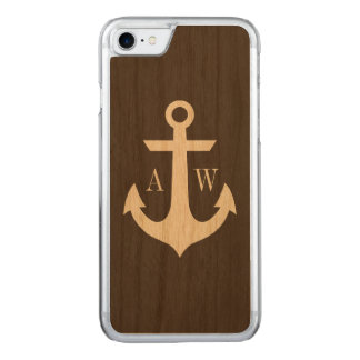 Rustic Monogrammed Anchor Woodback Carved iPhone 7 Case