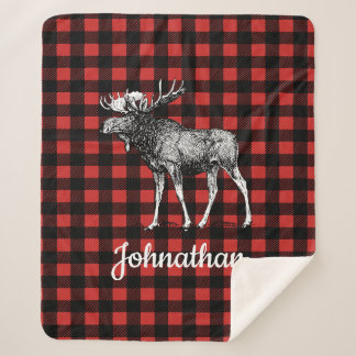 Rustic Moose Buffalo Check Lumberjack Plaid Sherpa Blanket