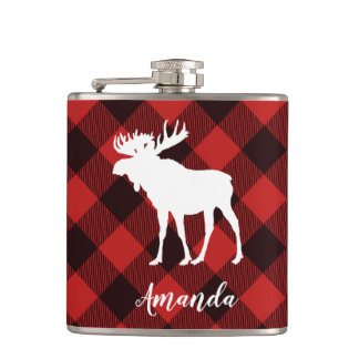 Rustic Moose Buffalo Red & Black Plaid Pattern Hip Flask