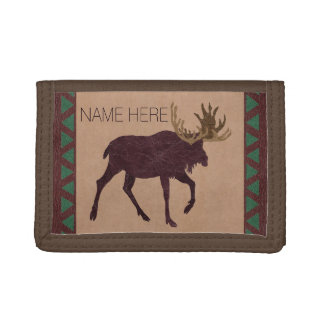 Rustic Moose Faux Leather Brown And Green Tri-fold Wallet
