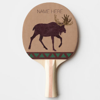 Rustic Moose Faux Leather-Look Man Cave Games Ping Pong Paddle