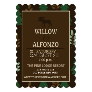 Rustic Moose Nature Lodge Wedding Invitation