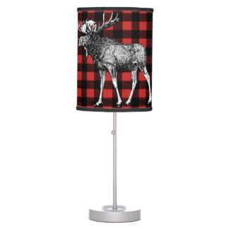 Rustic Moose Red & Black Buffalo Lumberjack Plaid Table Lamp
