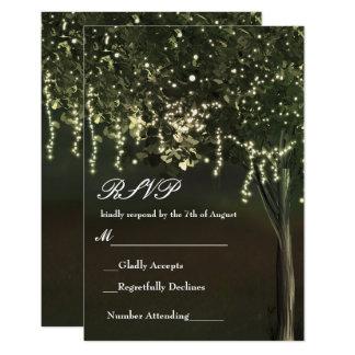 Rustic Mossy Lighted Tree Wedding RSVP Card