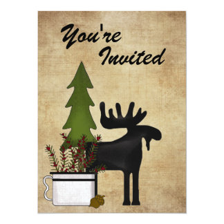 Rustic Mountain Country Moose Birthday Invitation