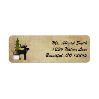 Rustic Mountain Country Silhouette Moose Return Address Label
