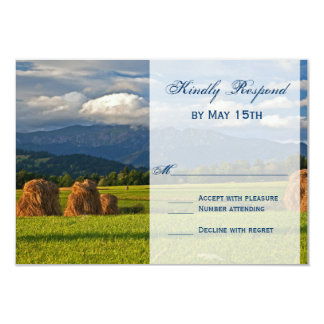 Rustic Mountain Field Country Wedding RSVP Cards Personalized Invitation