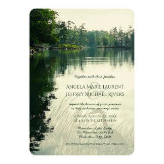 Rustic mountain lake heron wedding invitation