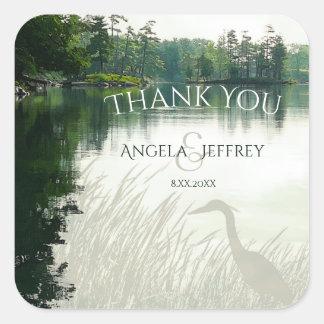 Rustic mountain lake heron wedding thank you square sticker