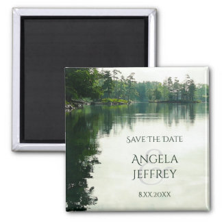 Rustic Mountain Lake reflection save the date Magnet
