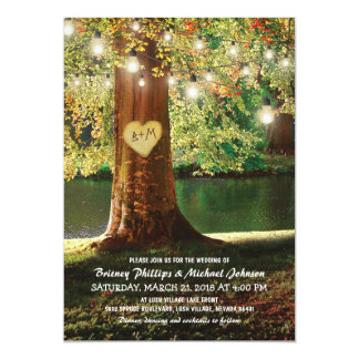 Rustic Mountain Lake Twinkle Lights Wedding Card