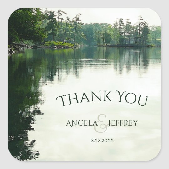 Rustic mountain lake wedding thank you square sticker