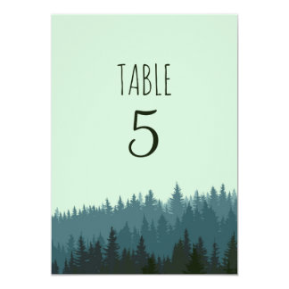 Rustic Mountain table numbers in blue and green Card