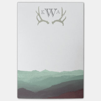 Rustic Mountain Watercolor & Antler | Monogram | Post-it® Notes