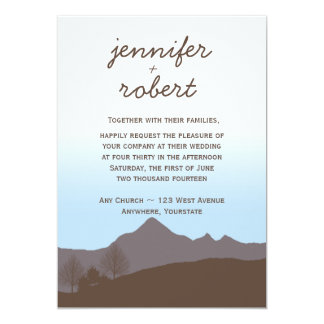 Rustic Mountain Watercolor Wedding Invitation