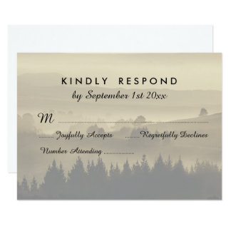 "Rustic Mountain Wedding RSVP response cards 3.5"" X 5"" Invitation Card"