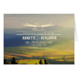 Rustic Mountains Dreamy Wedding Thank You Card