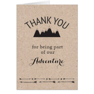 Rustic Mountains Kraft Paper Folded Thank You Card