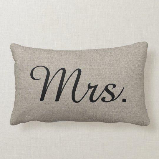 Rustic Mr. and Mrs. Cute Wedding Keepsake Lumbar Pillow