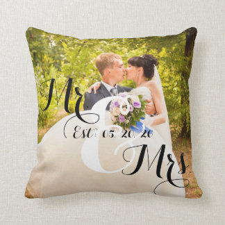 Rustic Mr and Mrs Photo   Wedding Throw Pillow