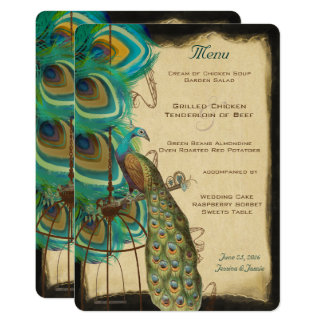 Rustic Musical Peacock Birdcage Romantic Feather Card