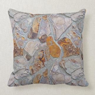 Rustic Natural Stone Mosaic Tiles Pattern Throw Pillow
