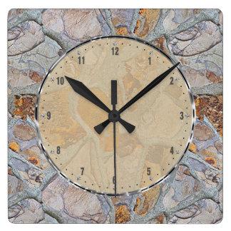 Rustic Natural Stone Pattern Print Square Wall Clock