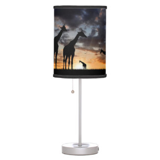 rustic nature landscape vintage wild animal table lamp