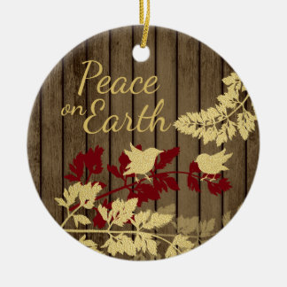 Rustic Nature Peace on Earth with Photo Round Ceramic Ornament