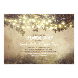 rustic nature tree branch lights rehearsal dinner card