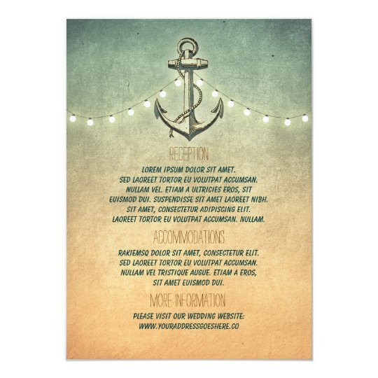 Rustic Nautical Anchor and Lights Wedding Details Card