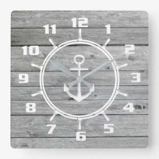 Rustic Nautical Anchor and Ship wheel On Old Wood Clocks