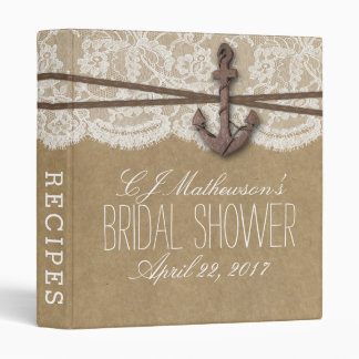 Rustic Nautical Anchor Beach Bridal Shower Recipe 3 Ring Binders