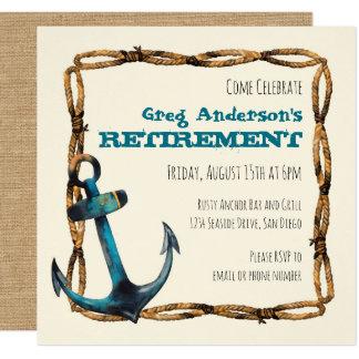 "Rustic Nautical Anchor Retirement 5.25"" Square Invitation Card"